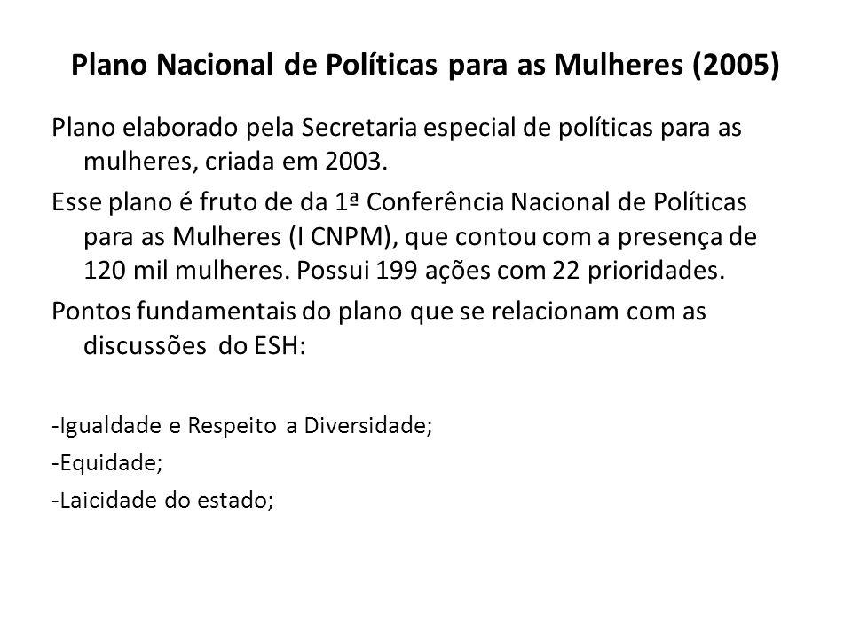 Plano Nacional de Políticas para as Mulheres (2005) Plano elaborado pela Secretaria especial de políticas para as mulheres, criada em 2003. Esse plano