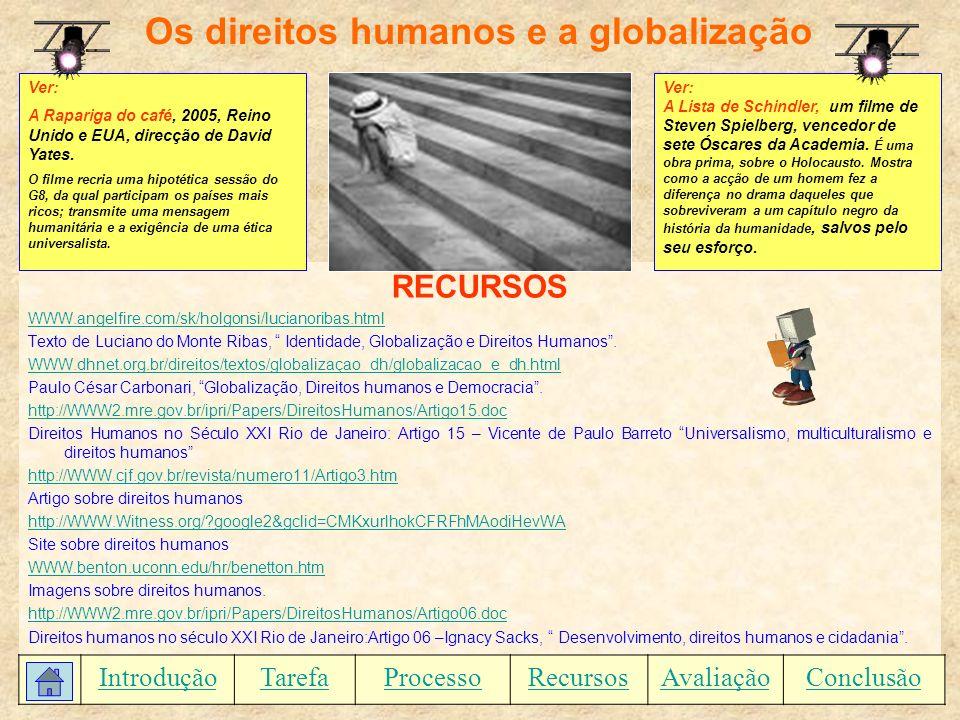 Os direitos humanos e a globalização RECURSOS WWW.angelfire.com/sk/holgonsi/lucianoribas.html Texto de Luciano do Monte Ribas, Identidade, Globalizaçã
