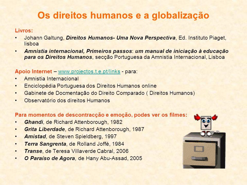 Os direitos humanos e a globalização Livros: Johann Galtung, Direitos Humanos- Uma Nova Perspectiva, Ed. Instituto Piaget, lisboa Amnistia internacion