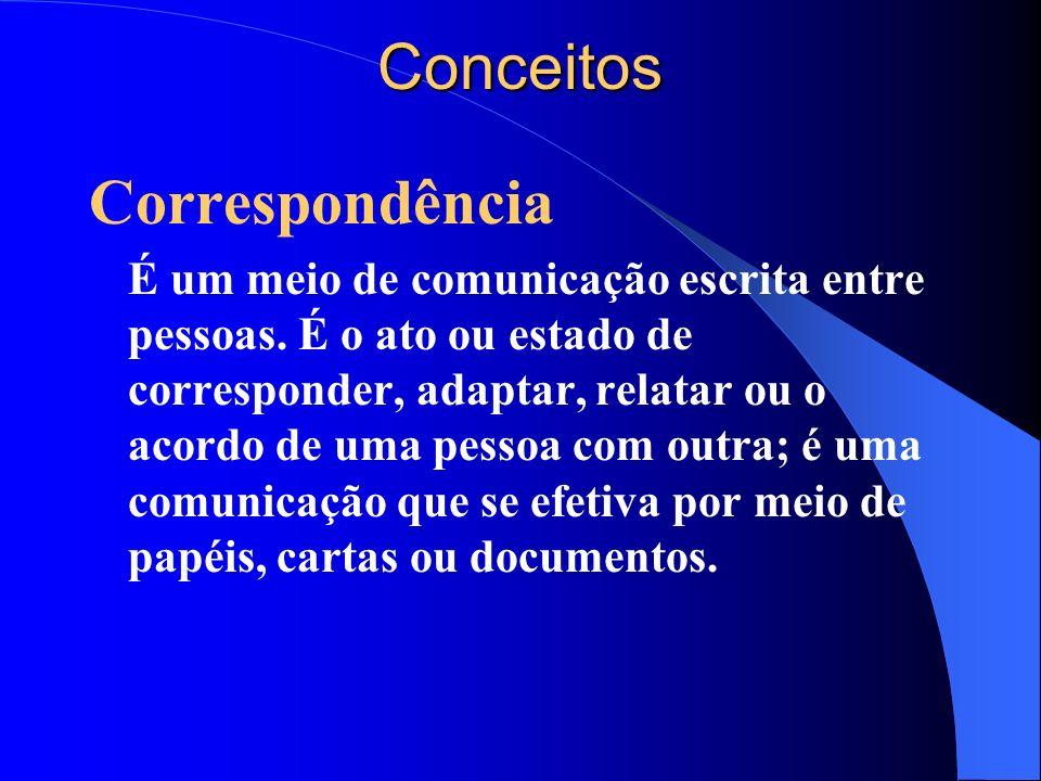 Conceitos Correspondência É um meio de comunicação escrita entre pessoas. É o ato ou estado de corresponder, adaptar, relatar ou o acordo de uma pesso