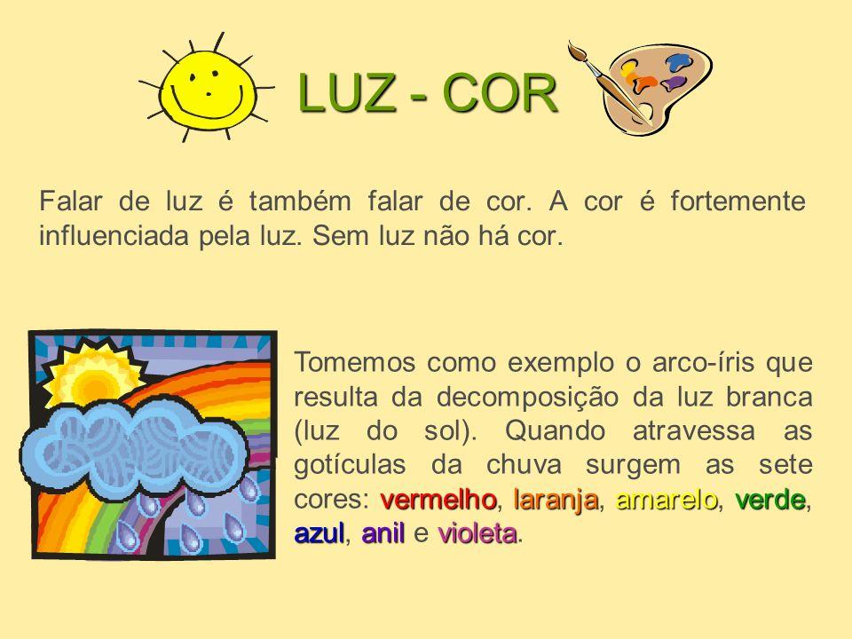 LUZ - COR Falar de luz é também falar de cor. A cor é fortemente influenciada pela luz. Sem luz não há cor. vermelholaranjaamareloverde azulanilviolet