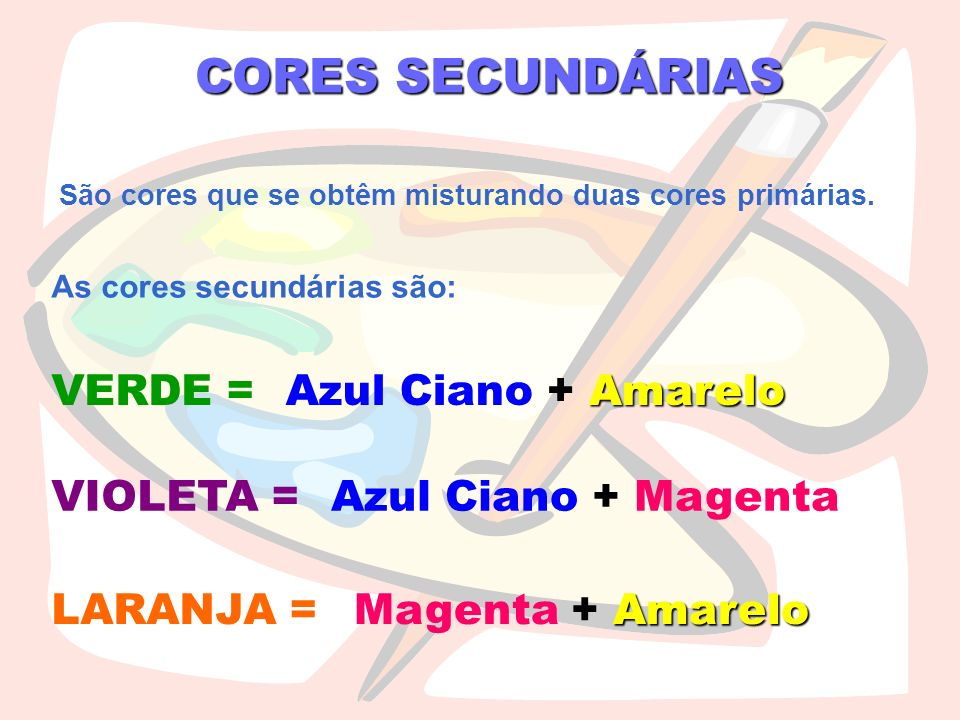 CORES SECUNDÁRIAS São cores que se obtêm misturando duas cores primárias. As cores secundárias são: VERDE = VIOLETA = LARANJA = Azul Ciano + A AA Amar