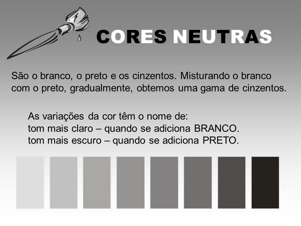 CORES NEUTRAS São o branco, o preto e os cinzentos. Misturando o branco com o preto, gradualmente, obtemos uma gama de cinzentos. As variações da cor