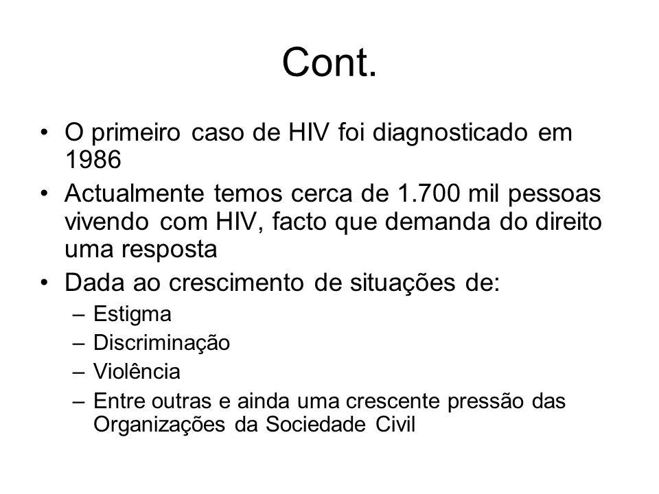 Cont. O primeiro caso de HIV foi diagnosticado em 1986 Actualmente temos cerca de 1.700 mil pessoas vivendo com HIV, facto que demanda do direito uma