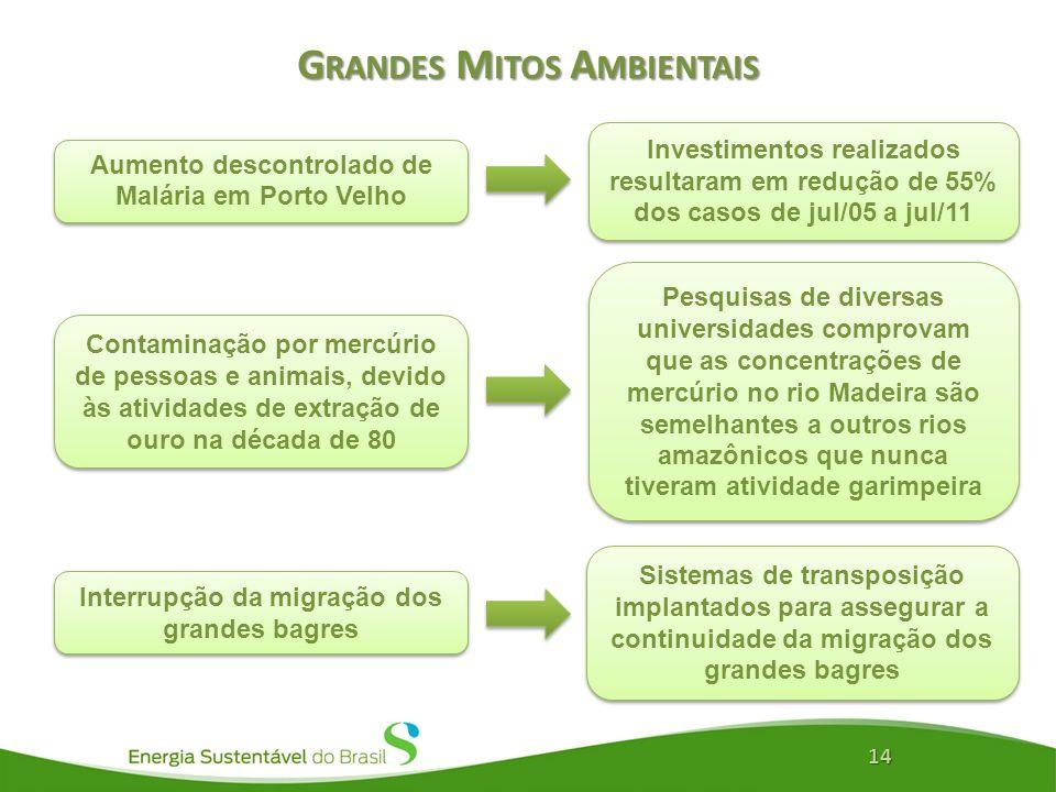 G RANDES M ITOS A MBIENTAIS 14 Aumento descontrolado de Malária em Porto Velho Investimentos realizados resultaram em redução de 55% dos casos de jul/