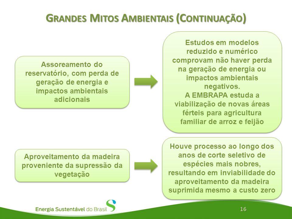 G RANDES M ITOS A MBIENTAIS (C ONTINUAÇÃO ) 16 Assoreamento do reservatório, com perda de geração de energia e impactos ambientais adicionais Estudos