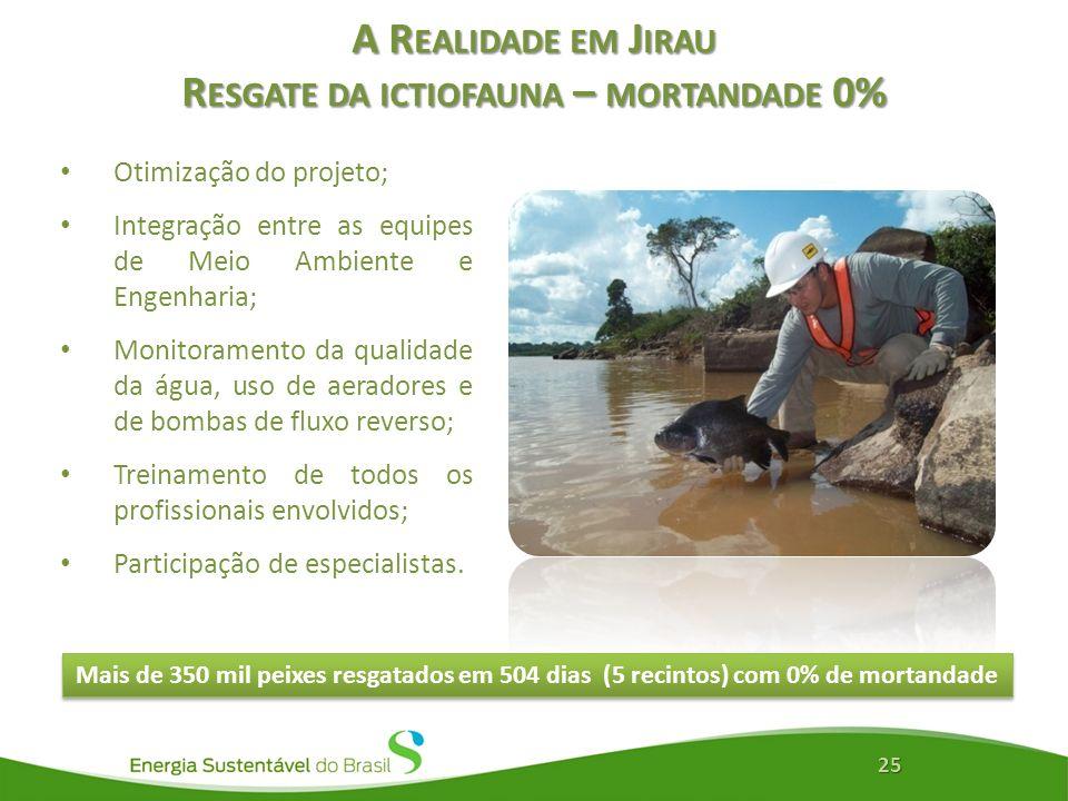 A R EALIDADE EM J IRAU R ESGATE DA ICTIOFAUNA – MORTANDADE 0% Otimização do projeto; Integração entre as equipes de Meio Ambiente e Engenharia; Monito