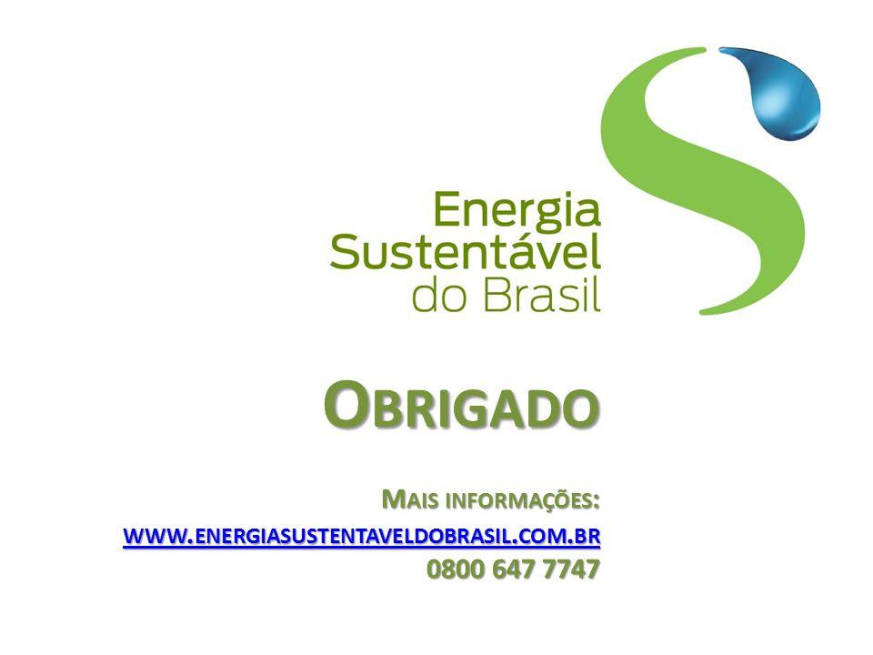 O BRIGADO M AIS INFORMAÇÕES : WWW. ENERGIASUSTENTAVELDOBRASIL. COM. BR 0800 647 7747 WWW. ENERGIASUSTENTAVELDOBRASIL. COM. BR WWW. ENERGIASUSTENTAVELD