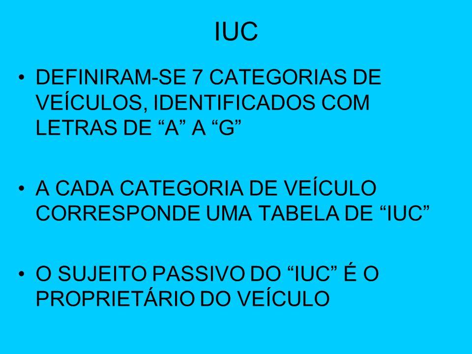 IUC DEFINIRAM-SE 7 CATEGORIAS DE VEÍCULOS, IDENTIFICADOS COM LETRAS DE A A G A CADA CATEGORIA DE VEÍCULO CORRESPONDE UMA TABELA DE IUC O SUJEITO PASSI