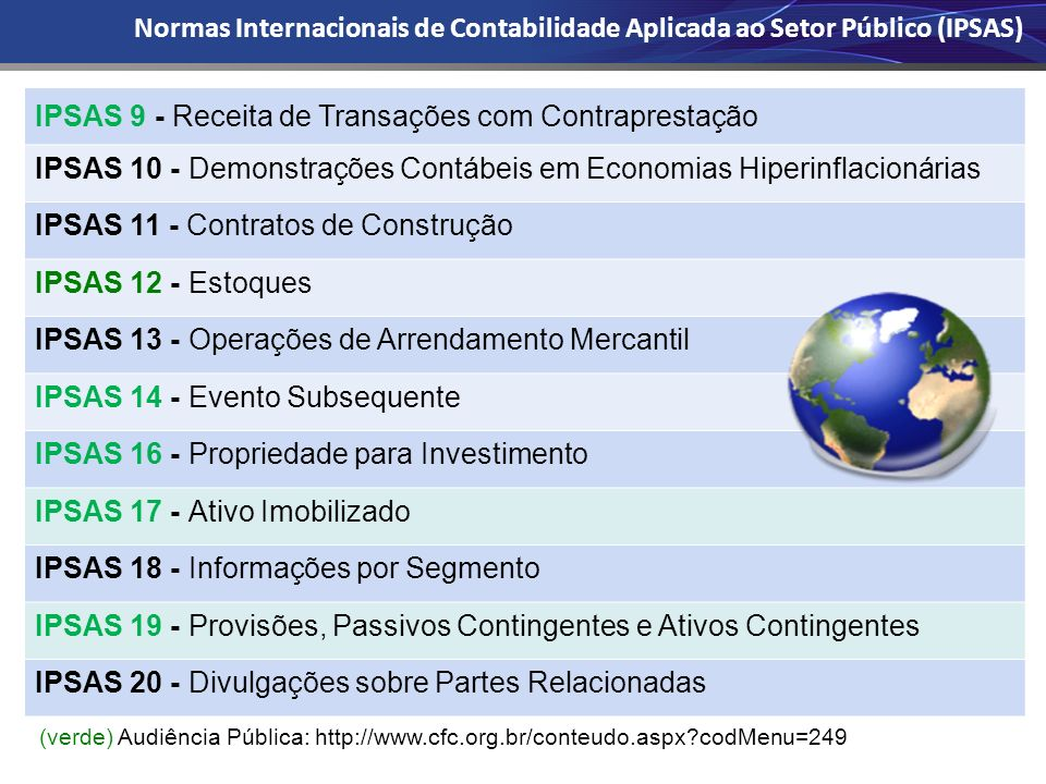 IPSAS 9 - Receita de Transações com Contraprestação IPSAS 10 - Demonstrações Contábeis em Economias Hiperinflacionárias IPSAS 11 - Contratos de Constr