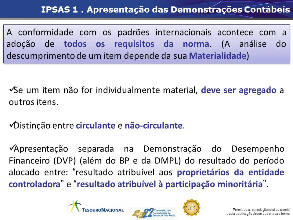 Permitida a reprodução total ou parcial desta publicação desde que citada a fonte. IPSAS 1. Apresentação das Demonstrações Contábeis Se um item não fo