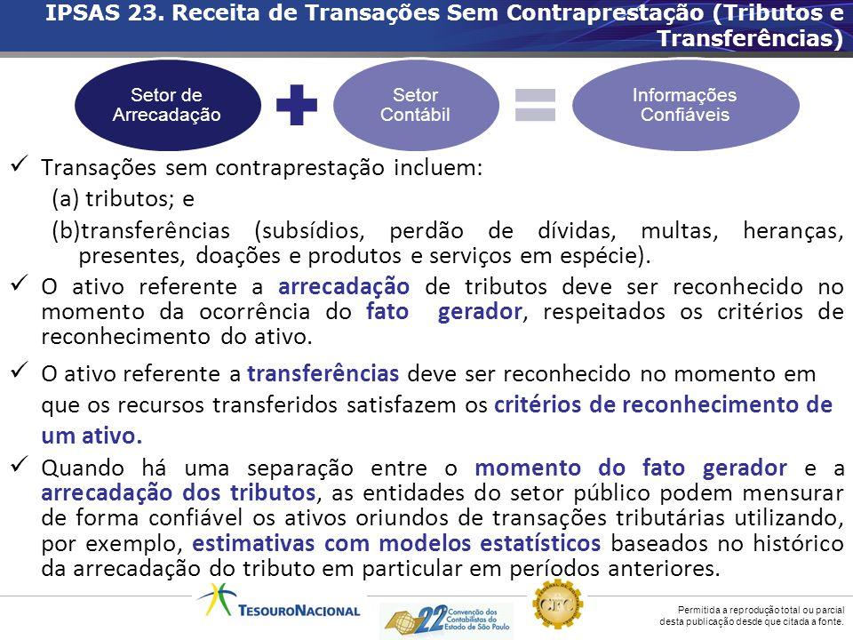 Permitida a reprodução total ou parcial desta publicação desde que citada a fonte. Transações sem contraprestação incluem: (a) tributos; e (b)transfer