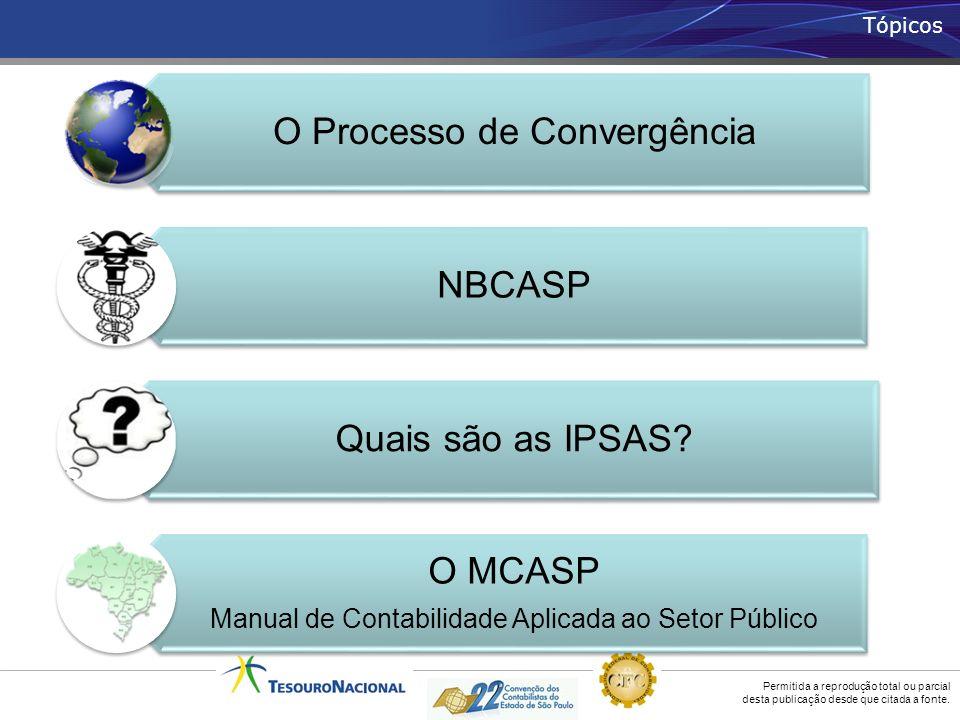 Permitida a reprodução total ou parcial desta publicação desde que citada a fonte. Tópicos O Processo de Convergência NBCASP Quais são as IPSAS? O MCA