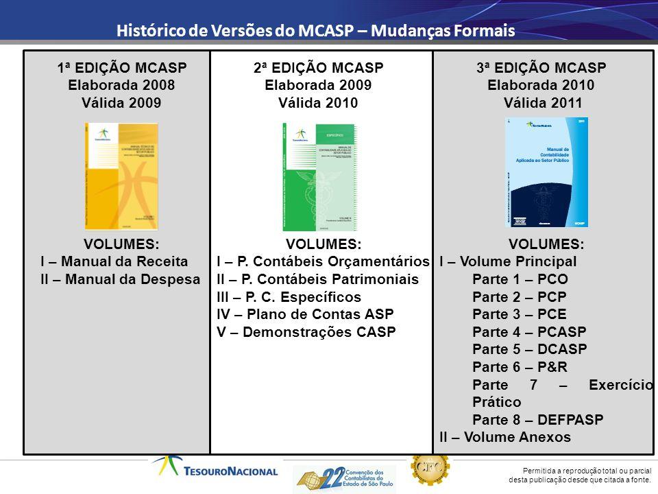 Permitida a reprodução total ou parcial desta publicação desde que citada a fonte. Histórico de Versões do MCASP – Mudanças Formais 1ª EDIÇÃO MCASP El
