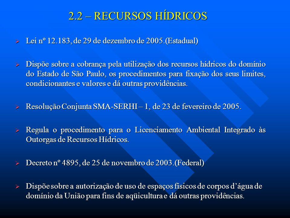 2.2 – RECURSOS HÍDRICOS Lei nº 12.183, de 29 de dezembro de 2005.(Estadual) Lei nº 12.183, de 29 de dezembro de 2005.(Estadual) Dispõe sobre a cobranç