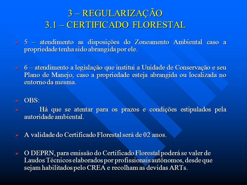 3 – REGULARIZAÇÃO 3.1 – CERTIFICADO FLORESTAL 5 – atendimento as disposições do Zoneamento Ambiental caso a propriedade tenha sido abrangida por ele.