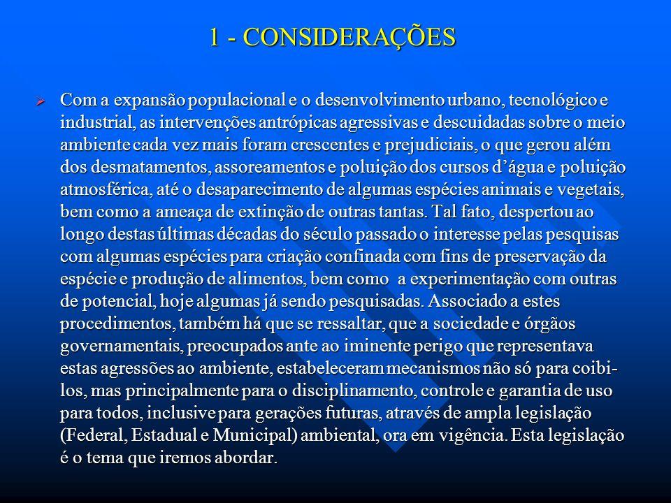 1 - CONSIDERAÇÕES Com a expansão populacional e o desenvolvimento urbano, tecnológico e industrial, as intervenções antrópicas agressivas e descuidada