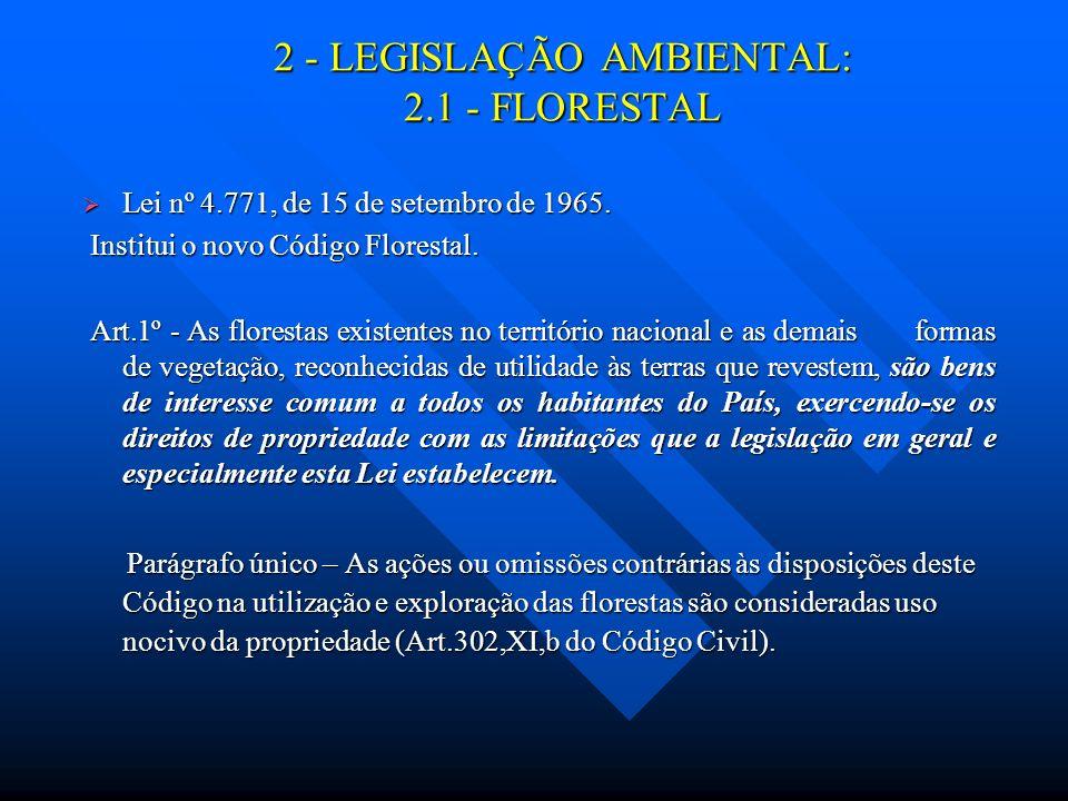 2 - LEGISLAÇÃO AMBIENTAL: 2.1 - FLORESTAL Lei nº 4.771, de 15 de setembro de 1965. Lei nº 4.771, de 15 de setembro de 1965. Institui o novo Código Flo