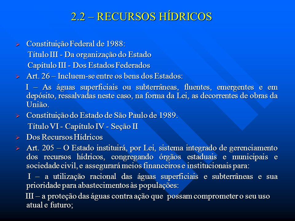 2.2 – RECURSOS HÍDRICOS Constituição Federal de 1988: Constituição Federal de 1988: Título III - Da organização do Estado Título III - Da organização