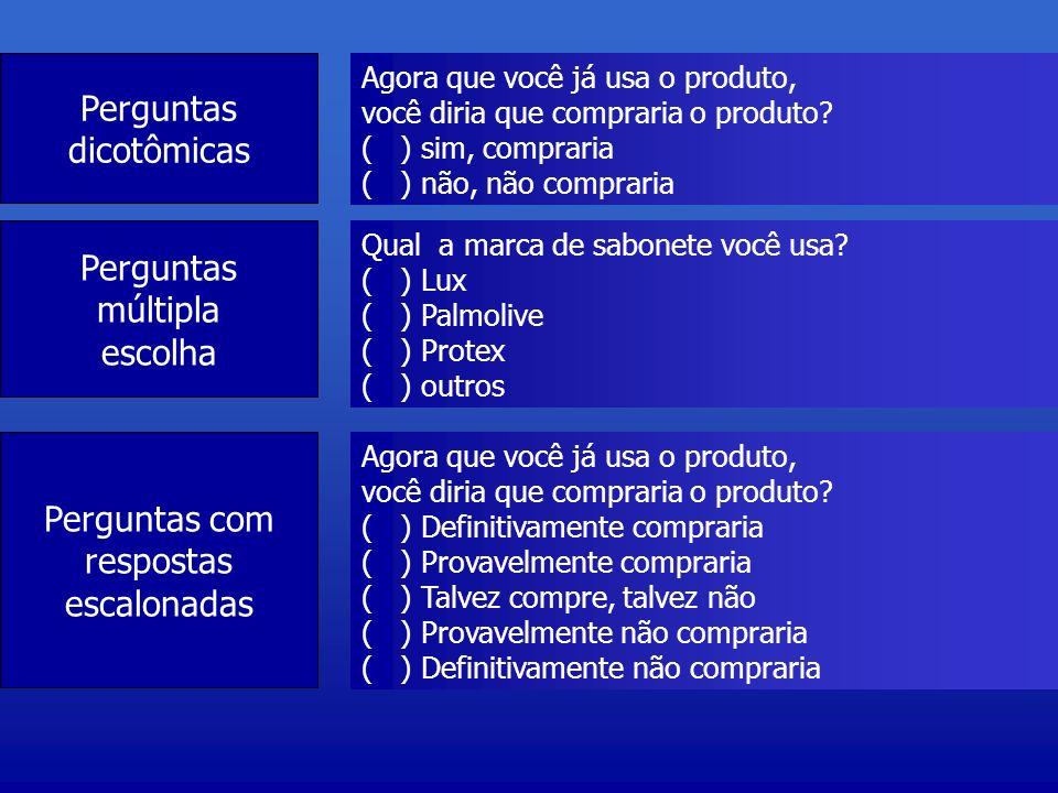 Perguntas dicotômicas Agora que você já usa o produto, você diria que compraria o produto? ( ) sim, compraria ( ) não, não compraria Perguntas múltipl