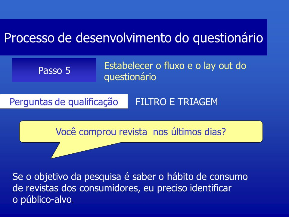 Processo de desenvolvimento do questionário Passo 5 Estabelecer o fluxo e o lay out do questionário Aquecimento Primeiras perguntas Perguntas fáceis de responder, demonstra ao entrevistado que a pesquisa é simples Qual revista você comprou.