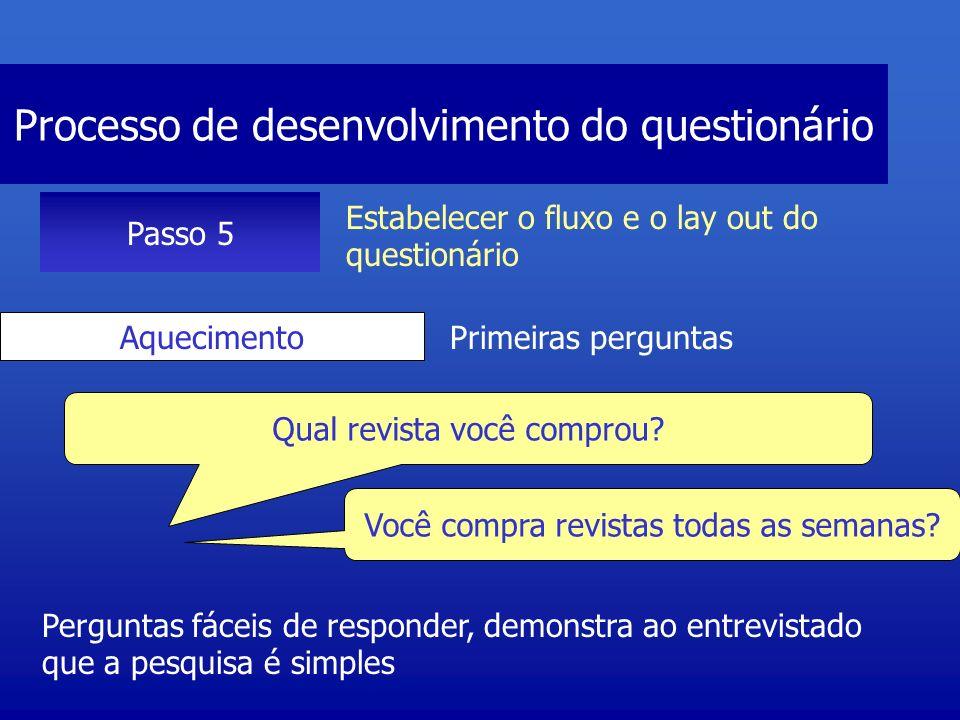 Processo de desenvolvimento do questionário Passo 5 Estabelecer o fluxo e o lay out do questionário Transições É necessário um pouco mais de esforço para responder O que você considera importante em uma revista.