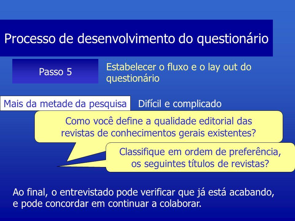 Processo de desenvolvimento do questionário Passo 5 Estabelecer o fluxo e o lay out do questionário Seção final Classificação e demografia Algumas perguntas podem parecer pessoais, e o entrevistado pode optar por deixar em branco.