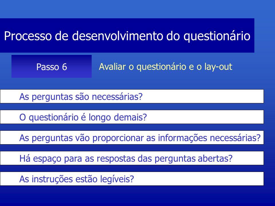 Processo de desenvolvimento do questionário Passo 6 Avaliar o questionário e o lay-out As perguntas são necessárias? O questionário é longo demais? As