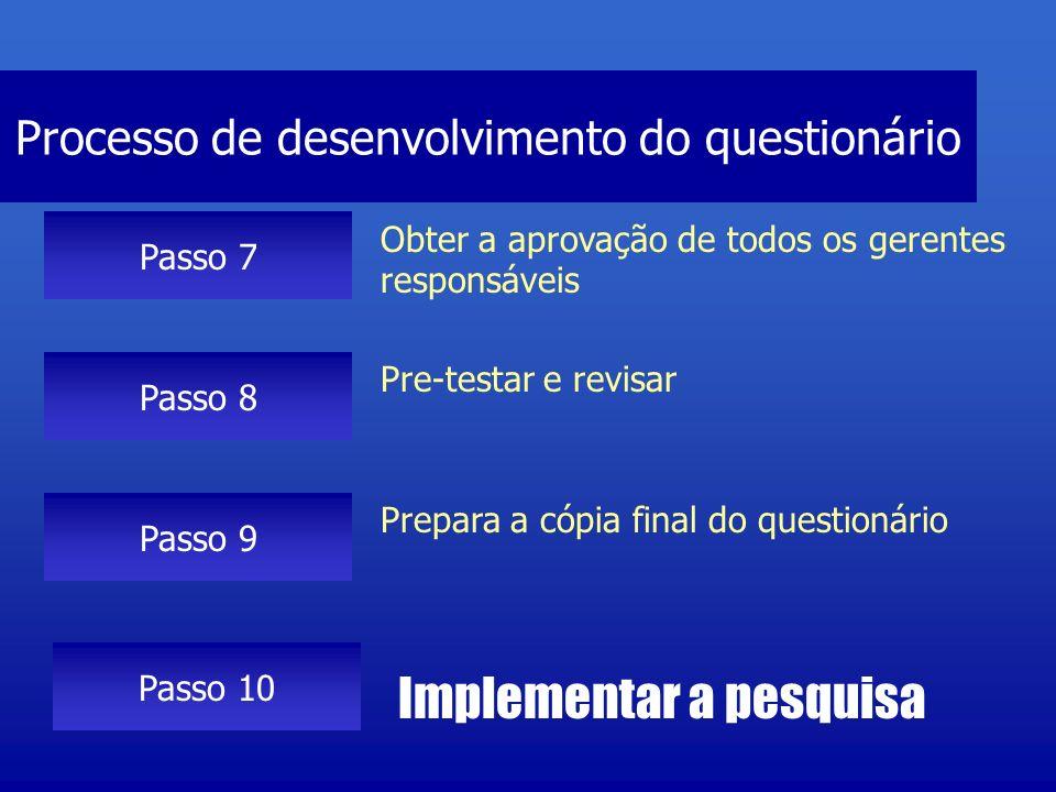 Processo de desenvolvimento do questionário Passo 7 Obter a aprovação de todos os gerentes responsáveis Passo 8 Pre-testar e revisar Passo 9 Prepara a