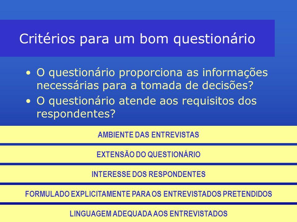 Critérios para um bom questionário O questionário proporciona as informações necessárias para a tomada de decisões? O questionário atende aos requisit