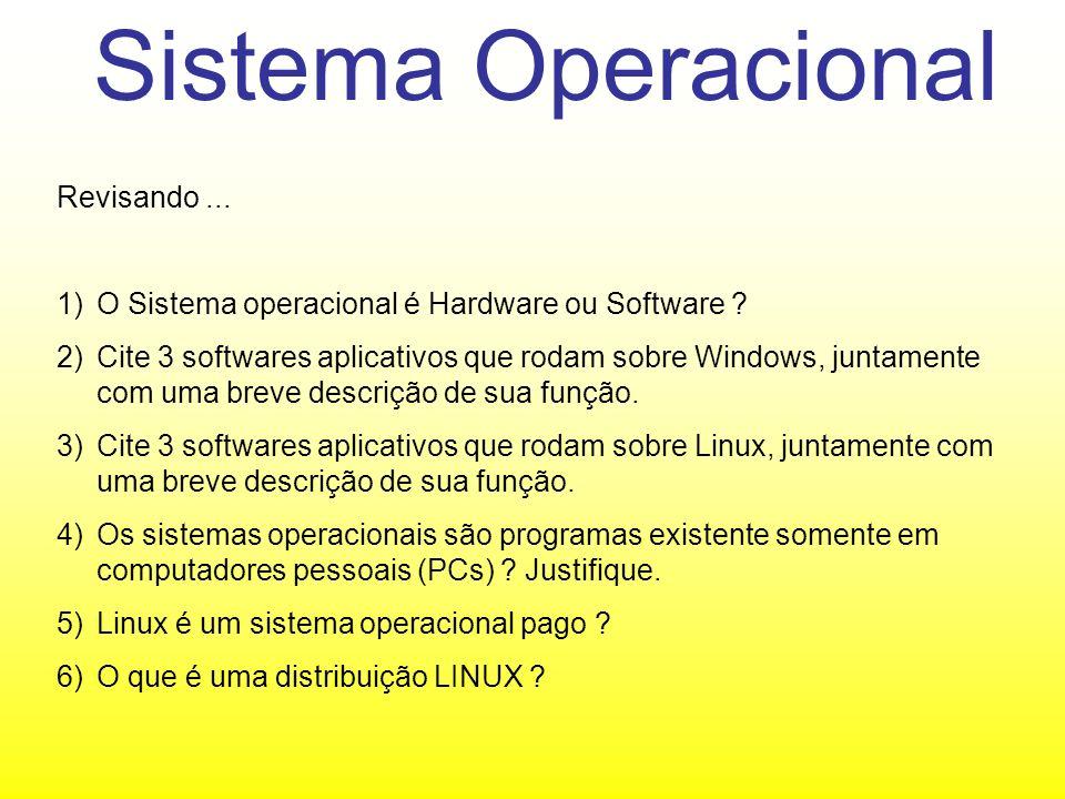 Sistema Operacional Revisando...1)O Sistema operacional é Hardware ou Software .