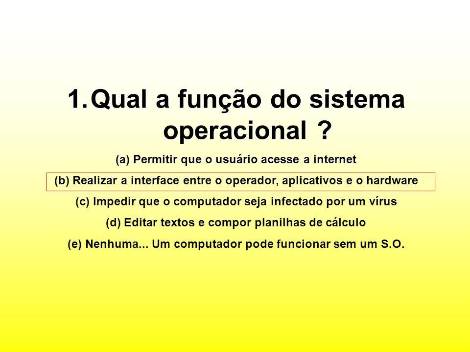 1.Qual a função do sistema operacional .