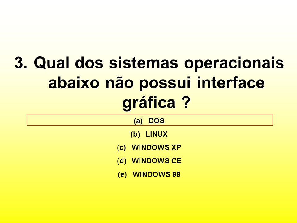 3.Qual dos sistemas operacionais abaixo não possui interface gráfica .