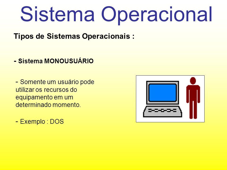 Sistema Operacional Tipos de Sistemas Operacionais : - Sistema MULTIUSUÁRIO - Vários usuários podem utilizar o mesmo computador ao mesmo tempo.