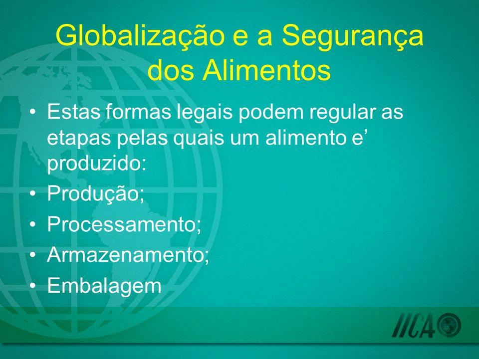 Globalização e a Segurança dos Alimentos Estas formas legais podem regular as etapas pelas quais um alimento e produzido: Produção; Processamento; Armazenamento; Embalagem