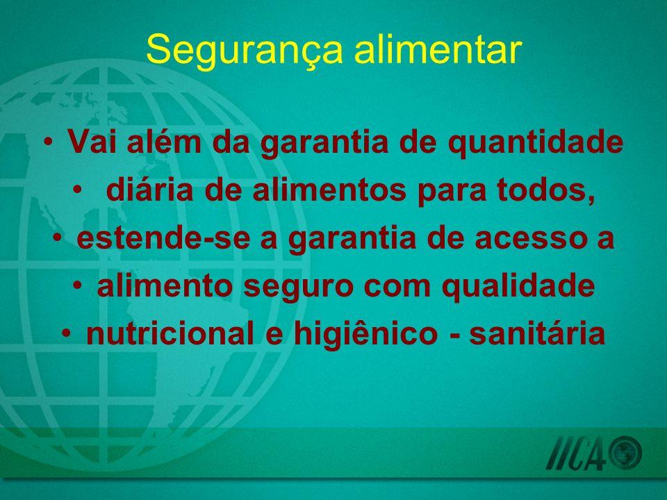 Segurança alimentar Vai além da garantia de quantidade diária de alimentos para todos, estende-se a garantia de acesso a alimento seguro com qualidade nutricional e higiênico - sanitária