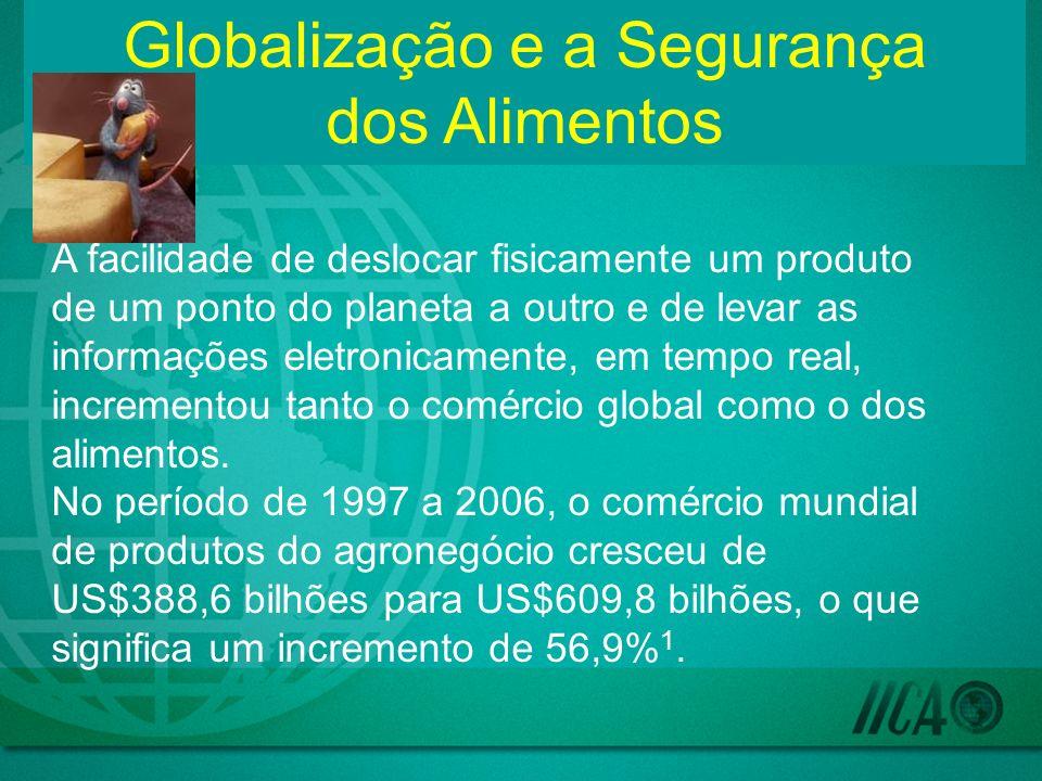 Globalização e a Segurança dos Alimentos A facilidade de deslocar fisicamente um produto de um ponto do planeta a outro e de levar as informações eletronicamente, em tempo real, incrementou tanto o comércio global como o dos alimentos.