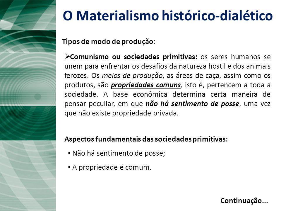O Materialismo histórico-dialético Forças produtivas: é a relação do ser humano com a natureza no esforço de produzir a própria existência – isto é, r