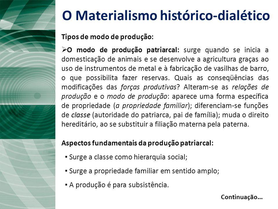 O Materialismo histórico-dialético Tipos de modo de produção: Comunismo ou sociedades primitivas: os seres humanos se unem para enfrentar os desafios