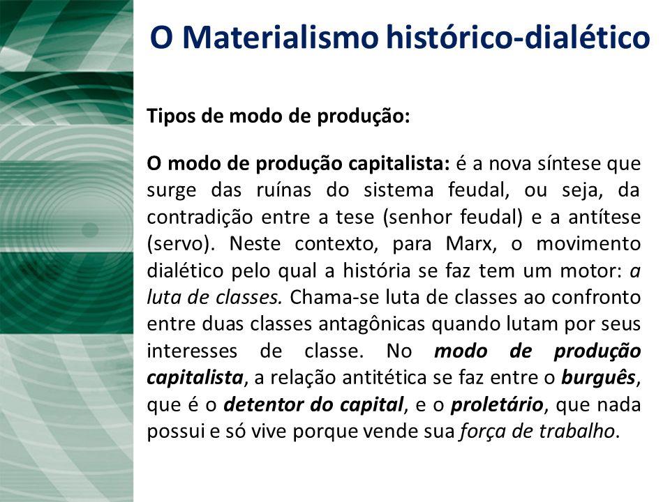 Continuação... O modo de produção feudal: a base econômica é a propriedade dos modos de produção pelo senhor feudal. O servo trabalha um tempo para si
