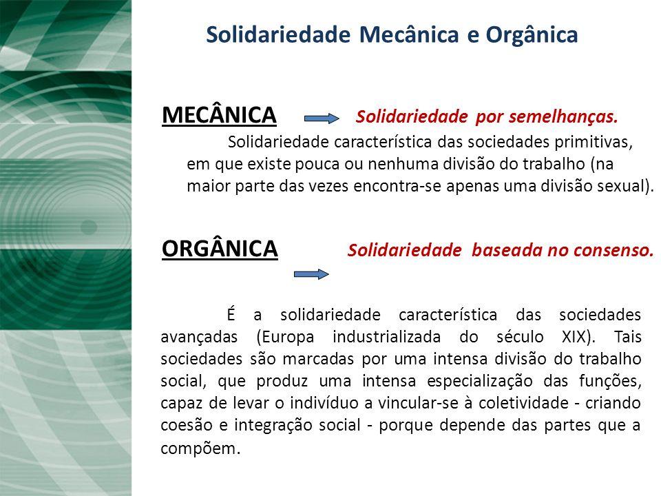 Solidariedade Mecânica e Orgânica MECÂNICA Solidariedade por semelhanças.