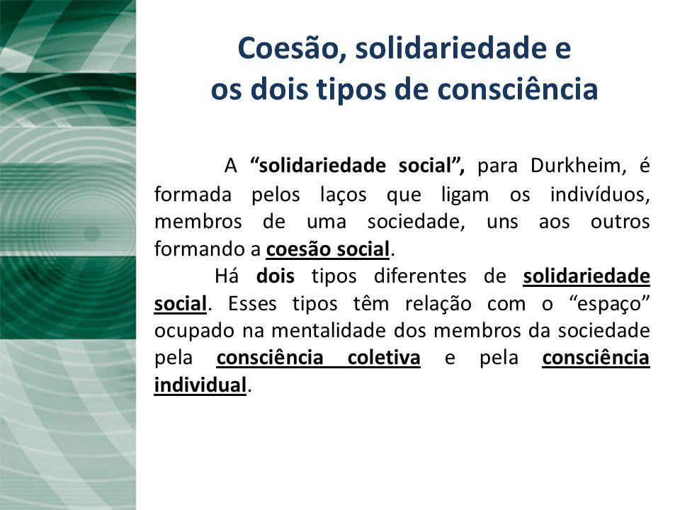 Coesão, solidariedade e os dois tipos de consciência A solidariedade social, para Durkheim, é formada pelos laços que ligam os indivíduos, membros de uma sociedade, uns aos outros formando a coesão social.