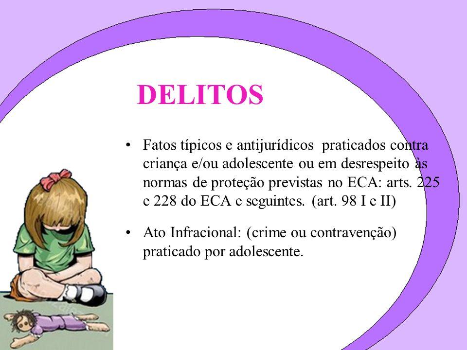DELITOS Fatos típicos e antijurídicos praticados contra criança e/ou adolescente ou em desrespeito às normas de proteção previstas no ECA: arts. 225 e