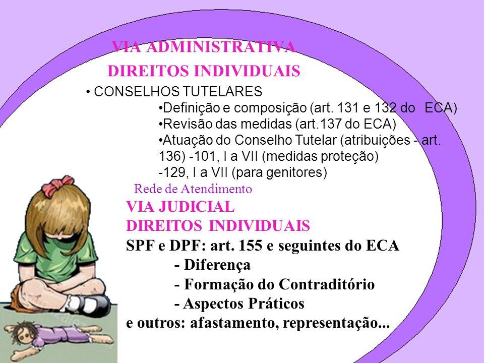 VIA ADMINISTRATIVA DIREITOS INDIVIDUAIS CONSELHOS TUTELARES Definição e composição (art. 131 e 132 do ECA) Revisão das medidas (art.137 do ECA) Atuaçã