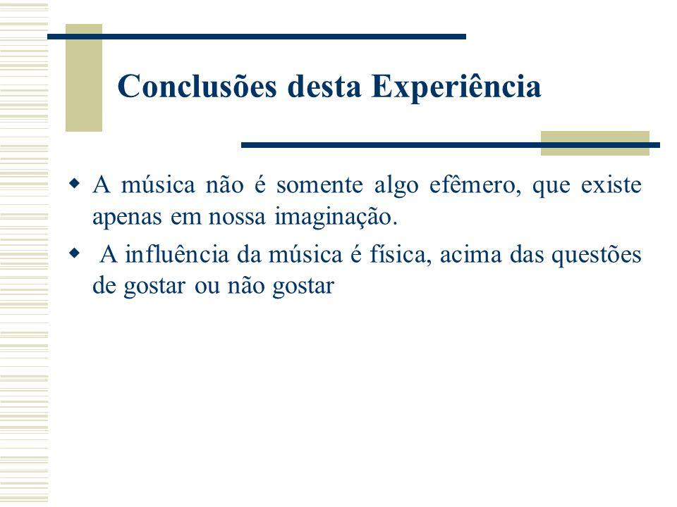 Conclusões desta Experiência A música não é somente algo efêmero, que existe apenas em nossa imaginação.