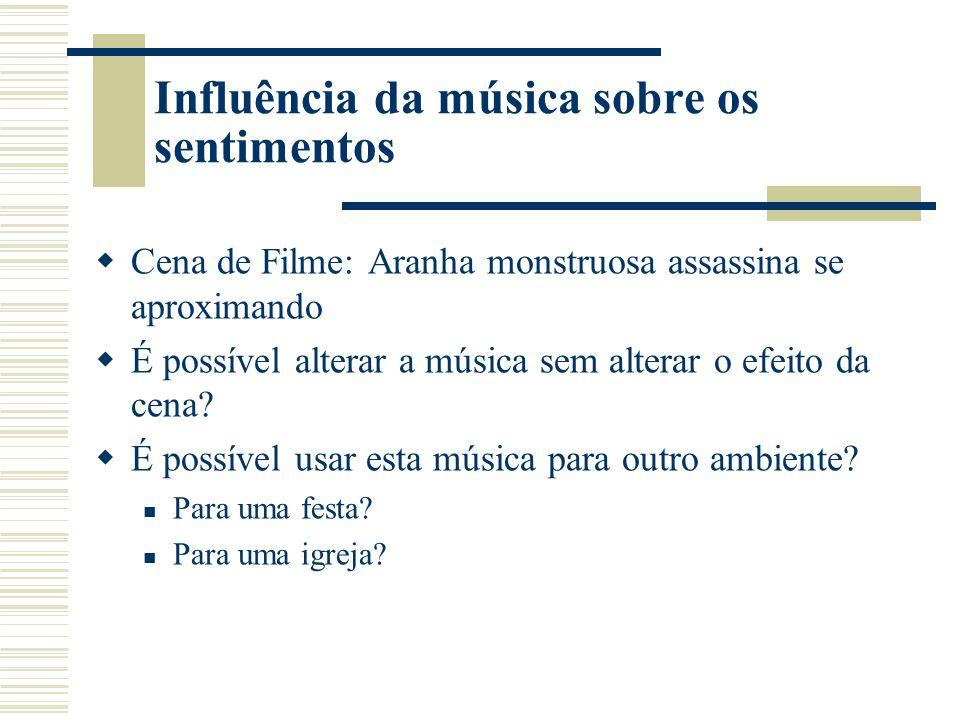 Influência da música sobre os sentimentos Cena de Filme: Aranha monstruosa assassina se aproximando É possível alterar a música sem alterar o efeito da cena.