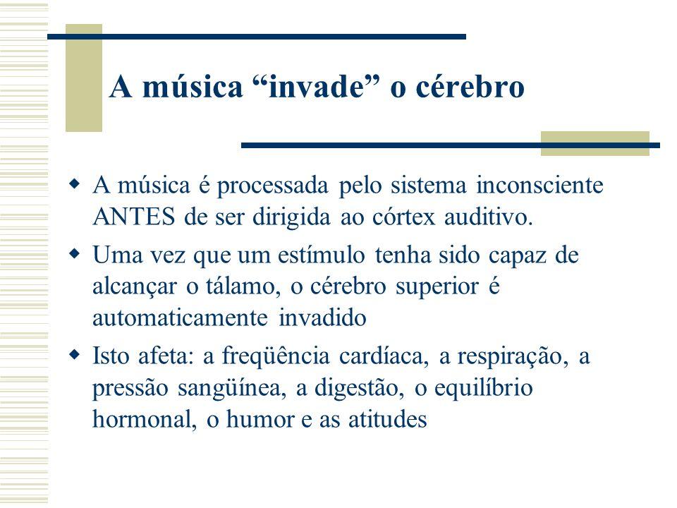A música invade o cérebro A música é processada pelo sistema inconsciente ANTES de ser dirigida ao córtex auditivo.