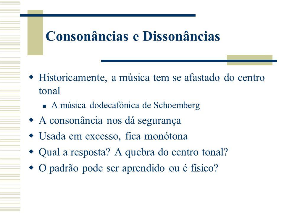 Consonâncias e Dissonâncias Historicamente, a música tem se afastado do centro tonal A música dodecafônica de Schoemberg A consonância nos dá segurança Usada em excesso, fica monótona Qual a resposta.
