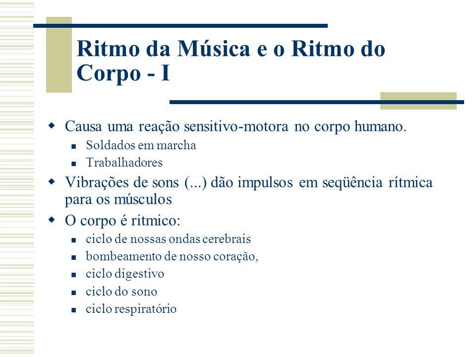 Ritmo da Música e o Ritmo do Corpo - I Causa uma reação sensitivo-motora no corpo humano.