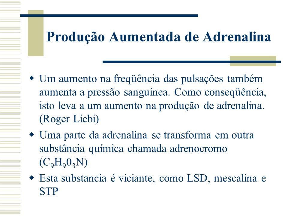 Produção Aumentada de Adrenalina Um aumento na freqüência das pulsações também aumenta a pressão sanguínea.